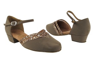 "8881 134 Brown Nubuck_217 Copper Sparkle Trim with 1"" Women Heel in the photo"