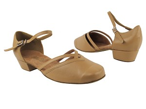 "8881 157 Beige Brown Leather with 1"" Women Heel in the photo"