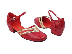 "8881 175 Red Snake_Gold PU Trim with 1"" Heel in the photo"