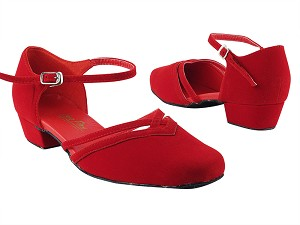 "8881 228 Red Velvet_Whole Shoes with 1"" Women Heel in the photo"