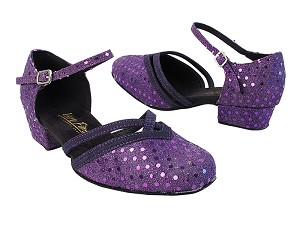"8881 237 Dark Purple Dots_281 Purple Suede Trim with 1"" Women Heel in the photo"
