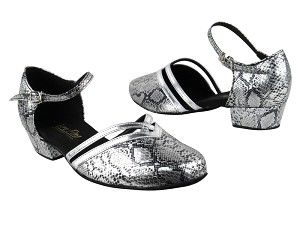 "8881 250 Silver Snake_Silver Leather Trim with 1"" Women Heel in the photo"