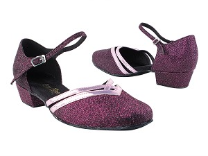 "8881 274 Purple Glitter_150 Purple PU Trim with 1"" Women Heel in the photo"