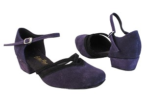 "8881 281 Purple Suede_244 Black Suede Trim with 1"" Women Heel in the photo"