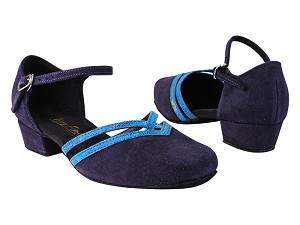 "8881 281 Purple Suede_319 Navy Blue Illusion Velvet Trim with 1"" Women Heel in the photo"