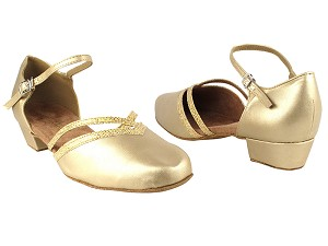 "8881 57 Light Gold Leather_173 Light Gold Scale Trim with 1"" Women Heel in the photo"