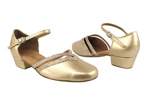 "8881 57 Light Gold Leather_74 Gold Sparklenet Trim with 1"" Women Heel in the photo"