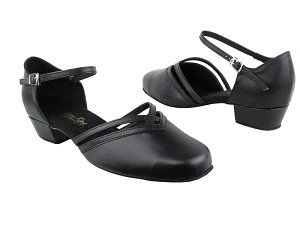 "8881 Black Leather_Whole Shoes with 1"" Women Heel in the photo"