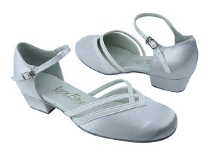 "8881 White Satin_White Leather Trim with 1"" Medium heel in the photo"