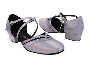 "8881LEDSS 79 Grey Satin_4 Grey Stardust Trim_X-Strap Arch with 1"" Heel (8881) in the photo"