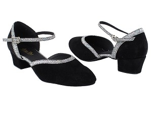"9621 244 Black Suede Leather_172  Grey Scale Trim with 1.5"" Medium Heel in the photo"