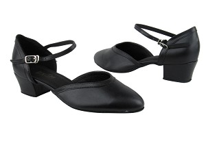 "9621 Black Leather_Black Leather Trim with 1.5"" Heel in the photo"