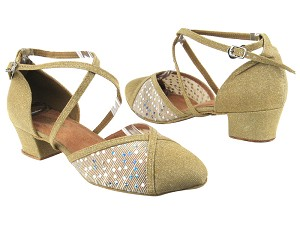 "9622 106 Glitter Gold Satin_129 Mesh with 1.5"" Heel in the photo"