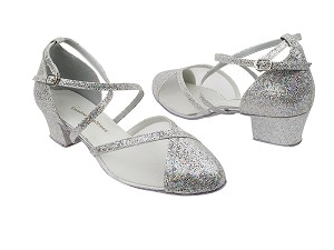 "9622 107 Silver Scale_52 White Mesh with 1.5"" Medium Heel in the photo"