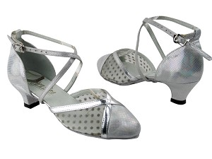 "9622 86 Silver Laser Satin_44 Mesh_Silver Leather Trim with 1.3"" Cuban heel in the photo"