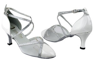 "9622 White Patent_Silver Sparklenet Trim_White Mesh with 2.6"" Flare heel in the photo"
