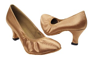 "9624 167 Tan Satin with 2.5"" Heel in the photo with 2.2"" Thick Heel in the photo"