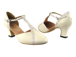 "9625 Creamy White Leather_142 Brown Trim with 2.2"" Thick Cuban Heel in the photo"
