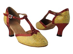 "9627 173 Light Gold Scale_285 Red Scale Trim with 2.5"" low heel in the photo"