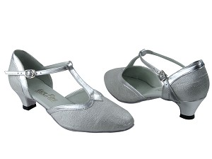 "9627 22 Silver Glitter Satin & Silver Trim with 1.3"" Heel in the photo"