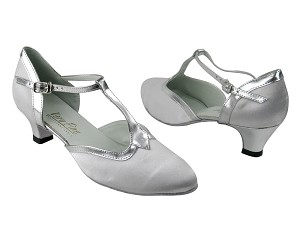 "9627 34 White Satin & Silver Leather Trim with 1.3"" Heel in the photo"
