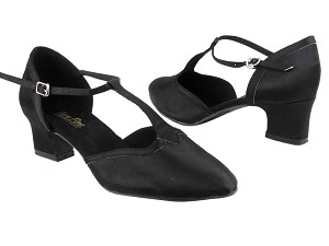 "9627 Black Satin_Black Satin Trim with 2"" Thick Cuban Heel in the photo"