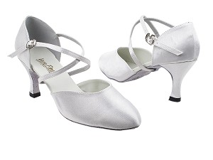 "9691 White Satin with 2.75"" heel in the photo"