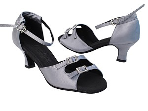 "C1620 180 Grey Satin_Stone with 2"" Slim Heel in the photo"