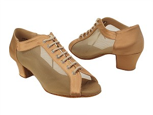 "C1643 211 Tan Satin_Flesh Mesh with 1.6"" Heel (NJ) in the photo"