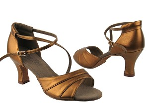 "C1659 BA45 Dark Tan Gold Leather with 2.5"" heel in the photo"
