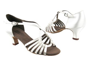 "C1661 BD13 White Satin with 1.2"" Cuban heel in the photo"