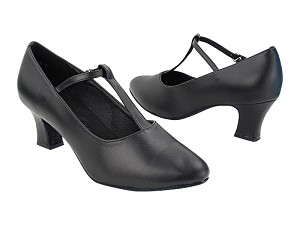 "C1682T Black Leather with 2.2"" Thick Cuban Heel (318) in the photo"