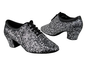 "C2601 BF17 Black Silver Sparkle with 1.6"" medium heel in the photo"