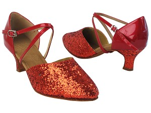 "C9691 37 Red Sparkle_F_H_264 Red Patent_B with MTXZ_2"" Slim Heel in the photo"