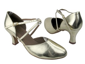 "C9691 BA31 Gold Leather with 2.5"" heel in the photo"