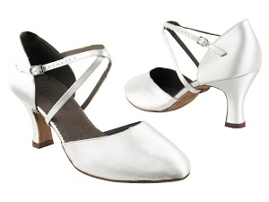 "C9691 BD13 White Satin with 2.5"" heel in the photo"