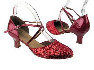 "C9691 BF18 Red Sparkle (F) & BA72 Red Patent (B) with 2"" slim heel in the photo"