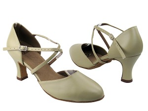 "C9691 Beige Leather with 2.5"" heel in the photo"