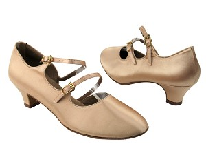 "PP201 BD1 Flesh Satin with 1.2"" Cuban heel in the photo"