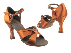 "PP204 3 Dark Tan Satin with 3"" heel in the photo"