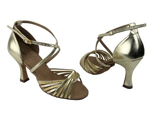 "S1001 Gold Scale & Gold Leather with 3"" Flare Heel in the photo"