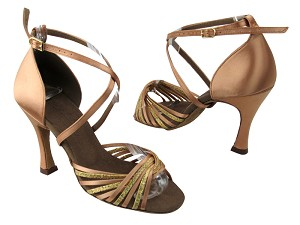"S1001 Gold Scale_Tan Satin with 3.5"" Flare heel in the photo"