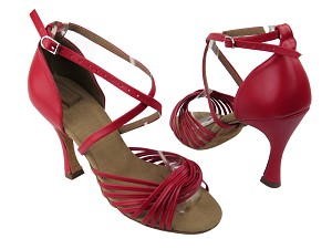 "S1001 Red Leather with 3.5"" Flare heel in the photo"