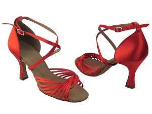 "S1001 Red Satin with 3"" Flare Heel in the photo"