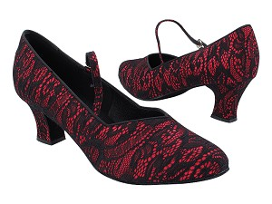 "S9138 257 Red Satin Black Lace with 2.2"" Thick Cuban Heel (318) in the photo"