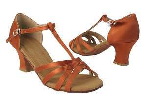 S9235 212 Dark Tan Satin with 318_2.2 inch Thick Cuban Heel in the photo