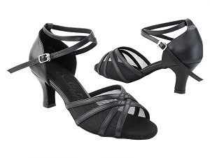 "SERA1605 Black Leather_X-Strap Ankle with Loop with 2.5"" Heel (2040) in the photo"