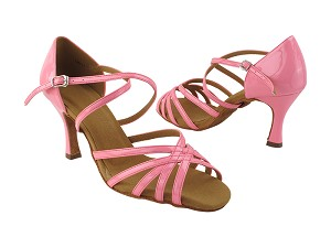 "SERA1613 225 Fluorescent Pink Patent with 3"" Flare Heel (5059) in the photo"