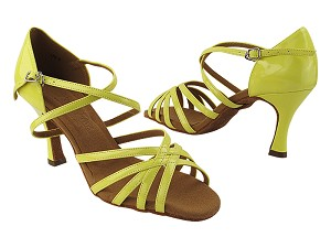"SERA1613 226 Fluorescent Grass Yellow Patent with 3"" Flare Heel (5059) in the photo"