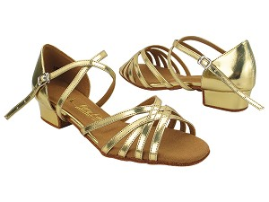 "SERA1670FT Gold Leather with Women 1"" Heel (8881) in the photo"